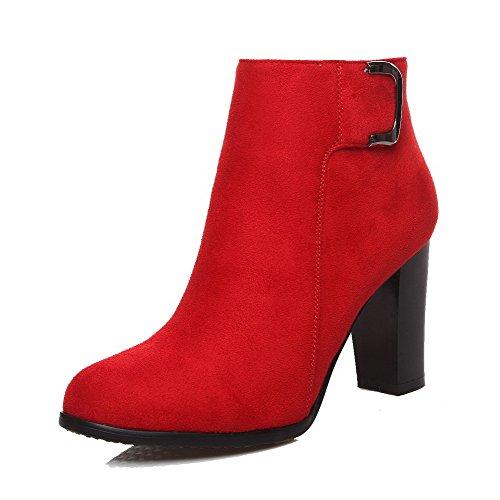 VogueZone009 Damen Hoher Absatz Rein Rund Zehe Mattglasbirne Reißverschluss Stiefel, Rot, 35