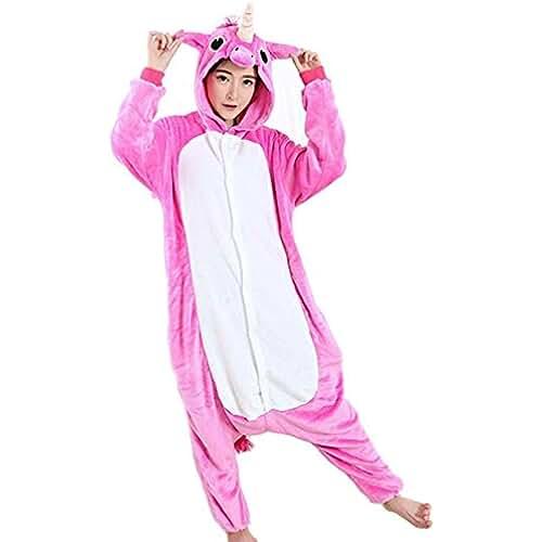 pijama de unicornio kawaii Unicornio creativo Unicornio pijama traje de noche Cosplay Unicornio Onesies para adultos (M, rosado)