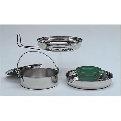 Military 1 Person Lightweight Portable CAMPING COOK SET – Stainless Steel Outdoor Cookwear Cooking Kit