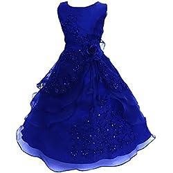 3c3bafcf94d9 LSERVER Pizzo Floreale Bowknot del Organza ragazza vestito ricamato con  paillette da ragazza Princess-Abito