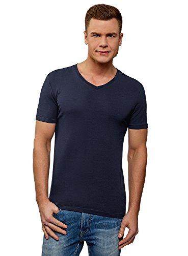 oodji Ultra Herren T-Shirt Basic mit V-Ausschnitt, Blau, XL