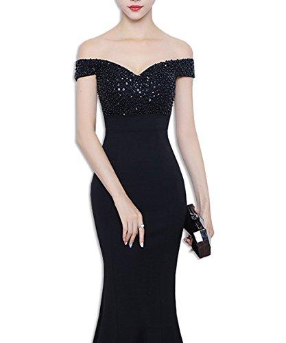 KAXIDY Damen Abendkleid Ballkleid Brautjungfer Cocktail Party Kleid Brautkleider Hochzeitskleider Abendkleider Festkleider Schwarz