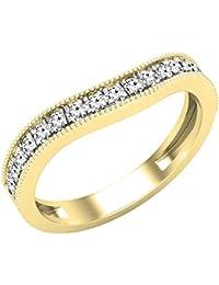Dazzlingrock Collection - Banda de boda apilable para mujer, piedra preciosa redonda y diamante blanco, oro amarillo de 18 quilates