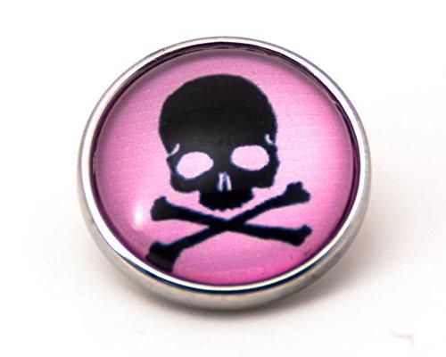 sekka jewelry® Click-Button Pirat Totenkopf schwarz Pink bunte - CH3218