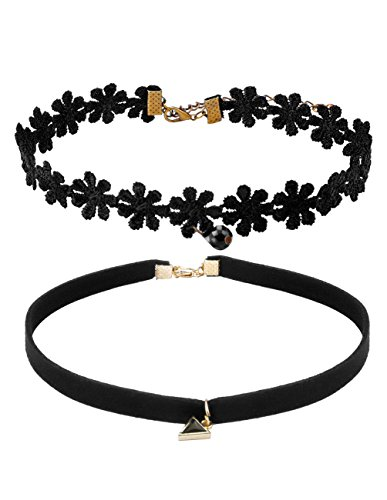 mudder-tattoo-choker-necklace-and-black-velvet-necklace-choker-with-pendant-set-of-2