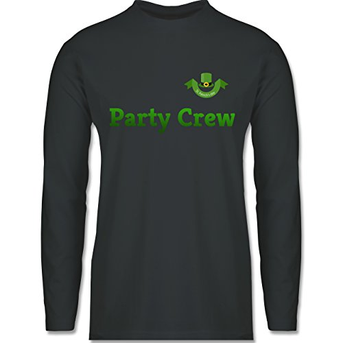 Shirtracer Festival - St. Patricks Day Party Crew - Herren Langarmshirt Dunkelgrau