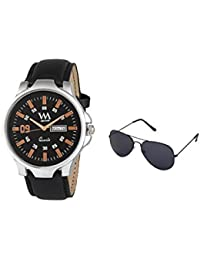 WM Gift Combo Set Of Sunglasses And Day And Date Analog Black Dial Black Leather Strap Quartz Watch For Men And...