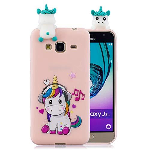compatibile con Cover Samsung J3 2016 Silicone 3D - Unicorno (Rosa)