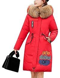 Mtydudxe Parka Abrigo con Capucha De Piel Sintética Mujeres Puffer Abrigo Chaqueta De Algodón Invierno Outwear
