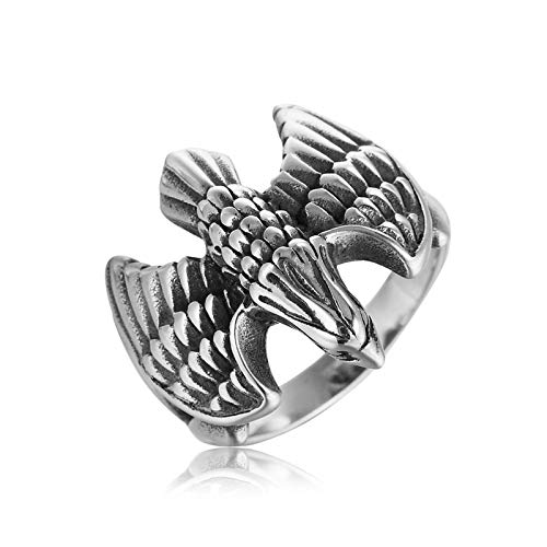 Epinki Herren Ringe aus Edelstahl, Vogel Adler Form Antragsringe Heiratsantrag Ring Herrenringe Gr.65 (20.7) (In Topas Weissgold Blue Ring London)
