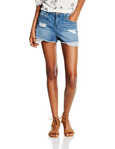 PIECES PCJUST Brandy RMW Printed Shorts/LBLD, Donna, Blu (Light Blue Denim), 40(Taglia del Produttore: Small)