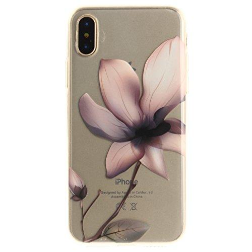 Cover iPhone X , YIGA Moda Fiore di pesca Trasparente Morbido TPU Silicone Flessibile Gel Guscio Cover Protettiva Bumper Case Protezione Copertura Custodia per Apple iPhone X (5,8) TX42