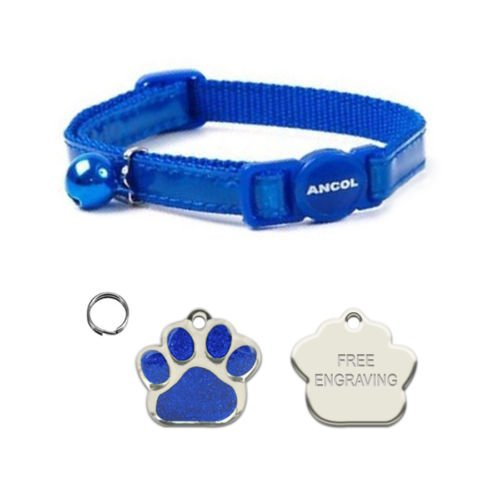 ANCOL Cat Blue Reflective Gloss Quick Release Collar With Paw Print Shaped Nickel Cat ID Tag