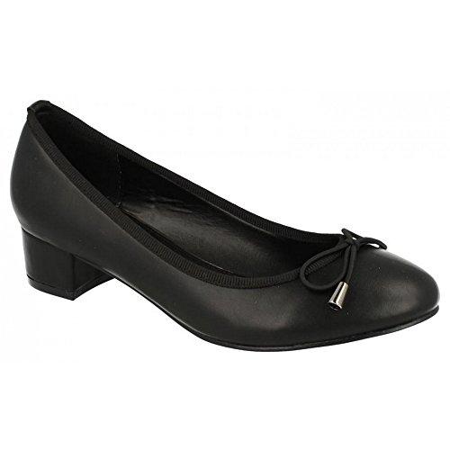 Spot On - Scarpe con tacco medio e fiocchetto - Donna Navy lucido