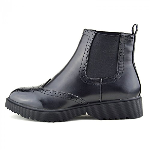 Damen Patent Pull On Chelsea Stil Händler Ankle-Boots,Chunky Sole Casual Stiefel BLACK MATT - F50483