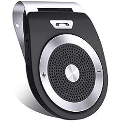 Aigoss Kit Mains Libres pour Voiture Bluetooth 4.1, Haut-Parleur sans Fil pour Le Pare-Soleil, Allumage Automatique par capteur de Mouvement intégré, en même Temps Pair 2 Phones