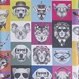 Beschichtete Baumwolle Hipster lustige Tiere (Meterware, Qualität zum Nähen) (100 x 140 cm)