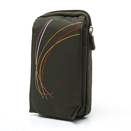 DFV mobile - Multi-Functional Vertical Stripes Pouch Bag Case Zipper Closing Carabiner for => Samsung Galaxy Eclipse 2 (Samsung J337) (2018) > Green (16 x 9.5 cm) Eclipse 16 Pin