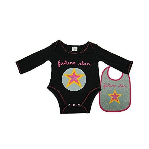 504087d026cf9 Poussin Bleu - Body bavoir bébé Futur star noir 1 mois Taille - 54 cm 1