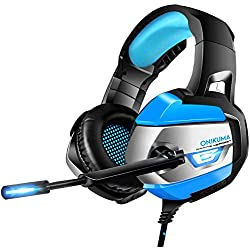 Casque Gaming PS4 - ONIKUMA Casque Gaming Xbox One, Son 7.1 Surround + Isolation + Fortes Basses, Microphone Anti-Bruit pour PC Mac Nintendo Switch