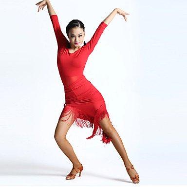 Robes(Noire / Rouge,Elasthanne,Danse latine)Danse latine- pourFemme Frange (s) Spectacle Danse latine Taille haute , adult