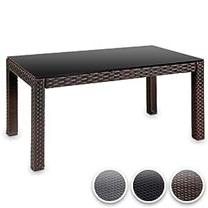 miadomodo table basse marron en r sine tress e plateau en verre 80 x 45 cm hauteur. Black Bedroom Furniture Sets. Home Design Ideas
