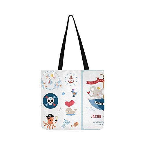 Nette Pirat und Hai im Meer Canvas Tote Handtasche Schultertasche Crossbody Taschen Geldbörsen für Männer und Frauen Einkaufstasche