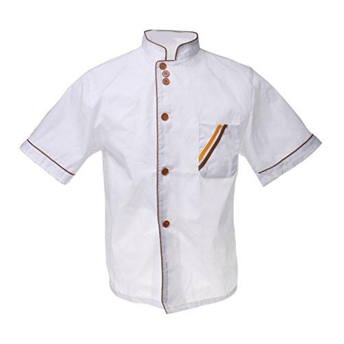 Phenovo Mandarino Collo Alla Coreana Top A Manica Corta Giacca Cuoco Chef Cappotto Uniforme Per Gli Uomini - XL