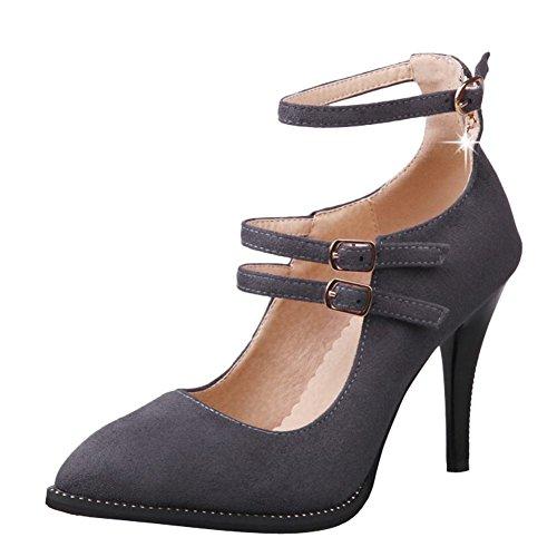 Mee Shoes Damen high heels ankle strap Nubukleder Pumps Grau