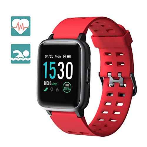tness Armbanduhr Fitness Tracker für Damen Herren Kinder, Sportuhr mit Schrittzähler Pulsmesser Wasserdicht IP68 zum Schwimmen, Smart Watch für iOS Android Handy (Rot) ()