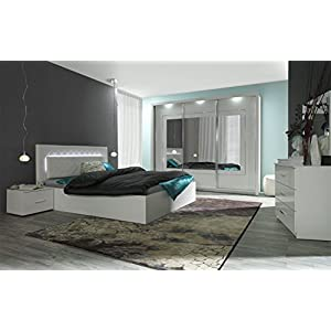 Schlafzimmer Komplett - Set A Psara, 5-teilig, Farbe: Weiß Hochglanz / Alpinweiß