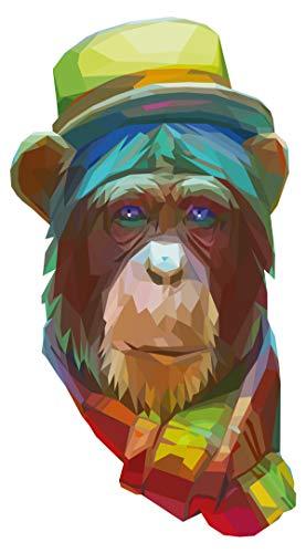 Wandtattoo Wandsticker Farbprächtiger Affe mit Hut modernes Tiermotiv zum Klebe