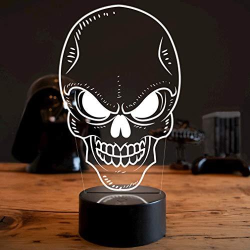 LED Deko Lampe Skull Totenkopf Schädel - Elbeffekt - Motorrad Deko - Biker Geschenk