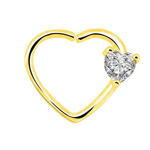 OUFER Body Piercing Überzogen mit Gold 18k, durchsichtiger Strass, 1.2mm Linke geschlossene herzförmige Knorpelohrringe Daith Cartilage 16 Gauge Heart Tragus Earrings (Gold Clear) (Hoop 16-gauge-gold Earring)