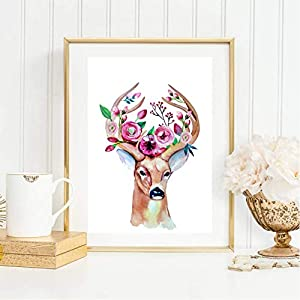 Din A4 Kunstdruck ungerahmt - Reh Hirsch Geweih Blumenkranz Boho Chic Aquarell, Romantik Deko, Geschenk Druck Poster Bild
