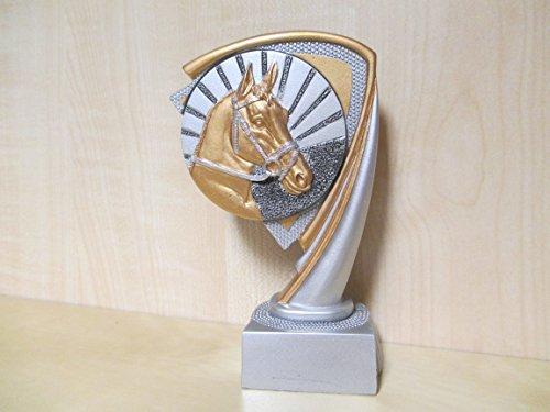 Fanshop Lünen Pokal - Pokale - Resin - Figur - Reiten - Dressur - Pferde - Reitsport - Gr. 14,5mm - Gold/Silber - (c808) - -