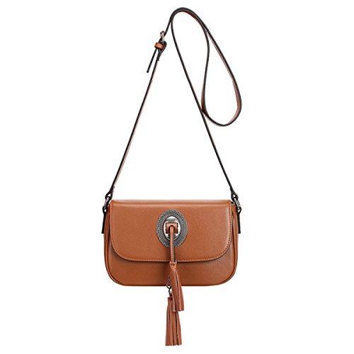 ZPFME Frauen Handtasche Mode Damen Tasche Ledertasche Einfach Mit Umhängetasche Mädchen Party Retro Damen Diagonal-Paket Brown
