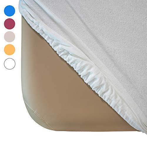 Zen Frottee Spannbezug für Massage-Liegen   passend für 71-81 cm x 185-195 cm   extra weich   waschbar 60°   OEKO TEX 100   für alle gängigen Kosmetik-Tische und Therapie-Bänke (Weiß)