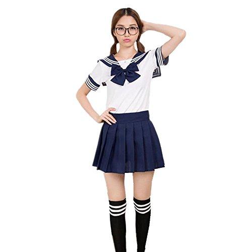 Kostüm Schule - Misslight Schulmädchen Kostüm Sexy Lingerie Damen Anime Schule Uniform Cosplay Kostüm Dienstmädchen Karneval (XL(Höhe168-172cm), Dunkel blau)
