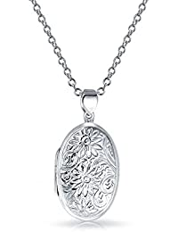 Bling Jewelry Sunflower Oval Locket Pendant Sterling Silver Necklace 18 Inches
