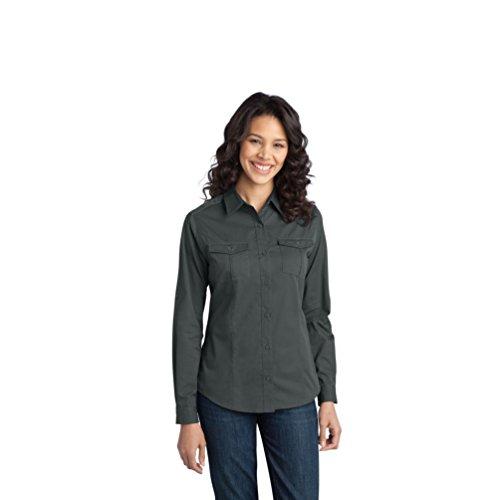 Port Authority Damen schmutzabweisend Twill Shirt Gr. XXXX-Large, Grau - Stahlgrau (Port Twill Shirt Authority)