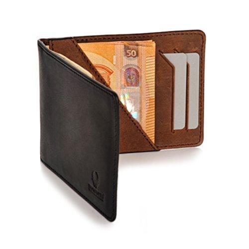 Donbolso Geldbörse Leder mit Münzfach Herren Mini Geldbeutel Flach mit RFID Portemonnaie Klein Geldklammer Slim Wallet Kartenetui 10 Karten Brieftasche Geschenk Männer Schwarz Braun (Und Tasche Karte)