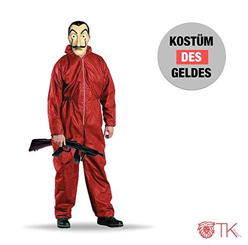 TK Gruppe Timo Klingler 2X Kostüm Haus des Geldes casa del Papel Bella Ciao Haus für Herren, Damen Erwachsene mit Maske, Overall rot, Maschinengewehr (2X Kostüm Set)