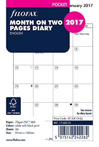 FilofaxAgenda tascabile 2017, un mese su due pagine (lingua inglese)