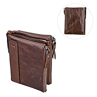 Unisex Asnlove Premium PU Leather Wallet/Purse with Anti-Theft and Double Zip Purse, Mini Coin Wallet, Credit Card Holder, Slim Wallet, Credit Card Case Coffee