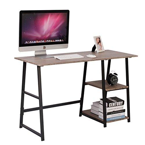 WOLTU Schreibtisch TSG25gr Computertisch Bürotisch Arbeitstisch PC Laptop Tisch, mit 2 Ablagen, aus Holz und Stahl, 120x50x73cm(BxTxH)