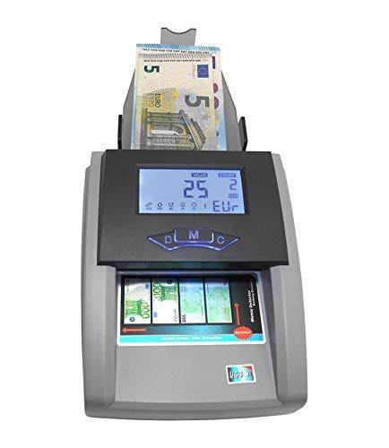 DOBO Rilevatore di Banconote Euro Falsi Verifica rileva Conta Soldi valuta - Rilevazione Automatica UV (Ultravioletti), MG (Analisi Magnetica), IR (Analisi qualità Carta) - aggiornamento valuta USB