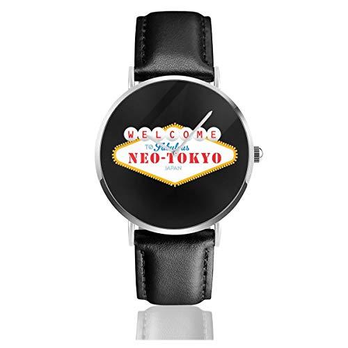 Akira Welcome to Neo Tokyo Vegas, orologio al quarzo con cinturino in pelle nera, unisex, idea regalo