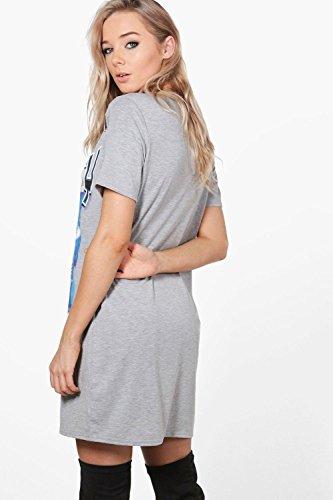 Damen Grau Rita Geschlitztes T-shirt-kleid Mit Sicherheitsnadel Grau