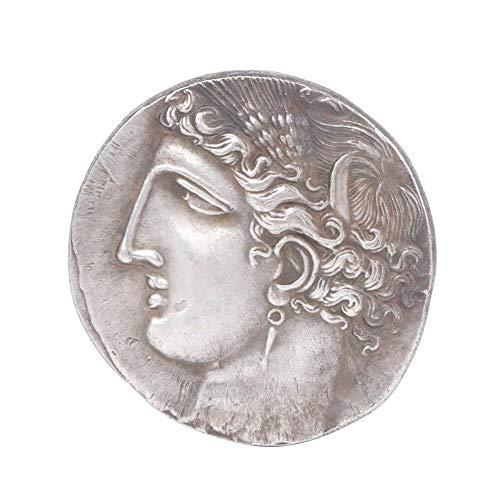 HEEPDD Sammlung Münze, archaistische Griechenland Kupfer versilbert Sammlung Münze Messing Überzug Silber Gedenkmünze Handwerk Geschenk für antike Sammler (1,5 Zoll)